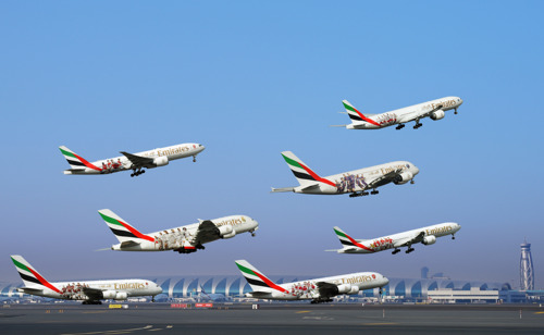 Six clubs and seven take-offs in one day: Emirates' football themed liveries make an impressive departure