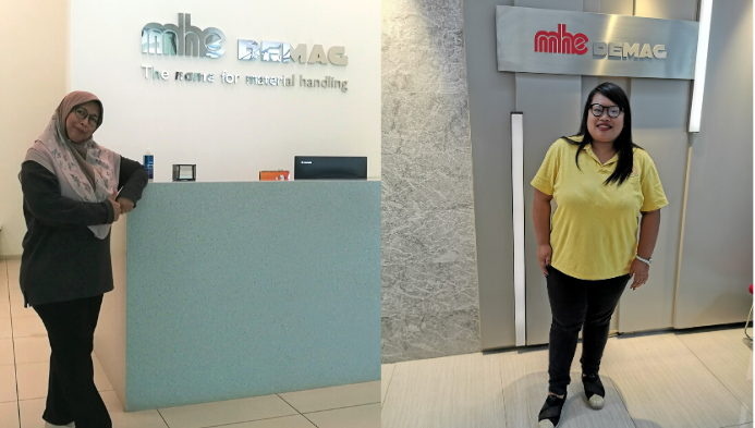 From left: Ms. Nora, in MHE-Demag's Bukit Raja lobby, right: Ms. Thitima posing in MHE-Demag's Thailand Headquarter.