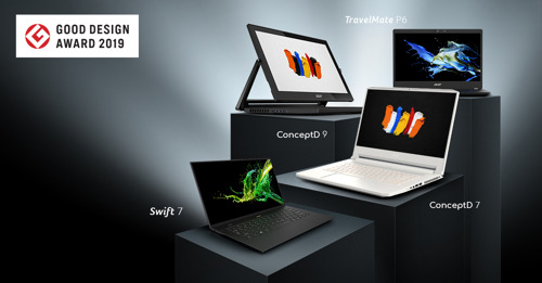 Acer Notebook Designs, Including New ConceptD Creator Models, Win 2019 Good Design Awards