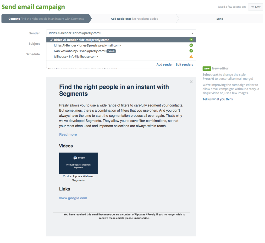 Selecting a sender adders when creating an email campaign
