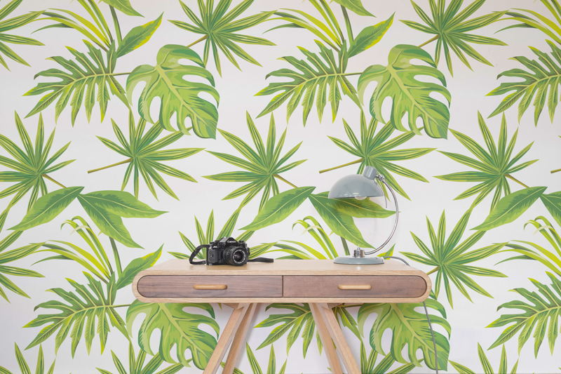 Tropical Leaves Print Wallpaper