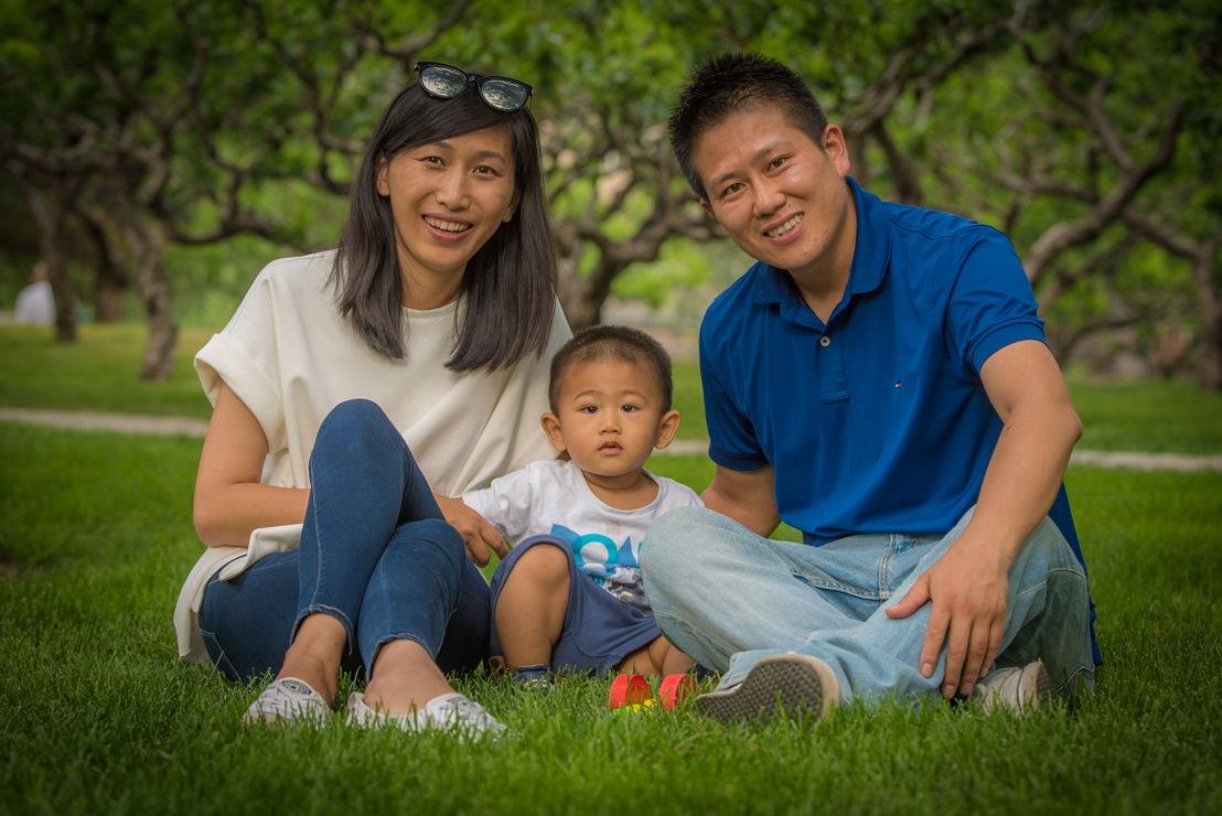 Model citizen Dandan Fan with civil servant husband Xiaojing Zhang and son Ruibao. Pic credit Brant Cumming