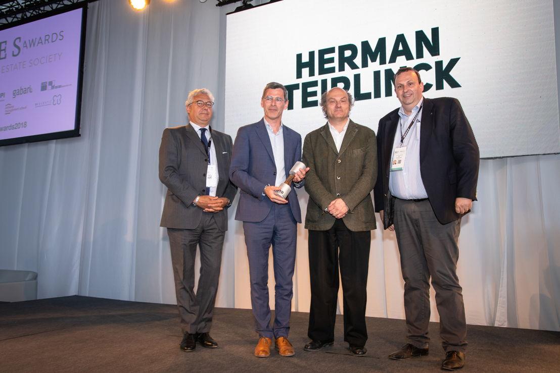 Herman Teirlinck - Jurylid Serge Fautre (UPSI-BVS), Peter De Durpel (Extensa)<br/>Willem Jan Neutelings (Neutelings-Riedijk) en Philip Borremans (PMV)