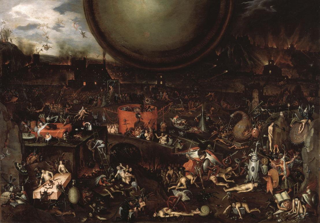 © Jheronimus Bosch (navolger), Apocalyptisch visioen, ca. 1575 – 1600 (1595?). Venezia, Palazzo Ducale.