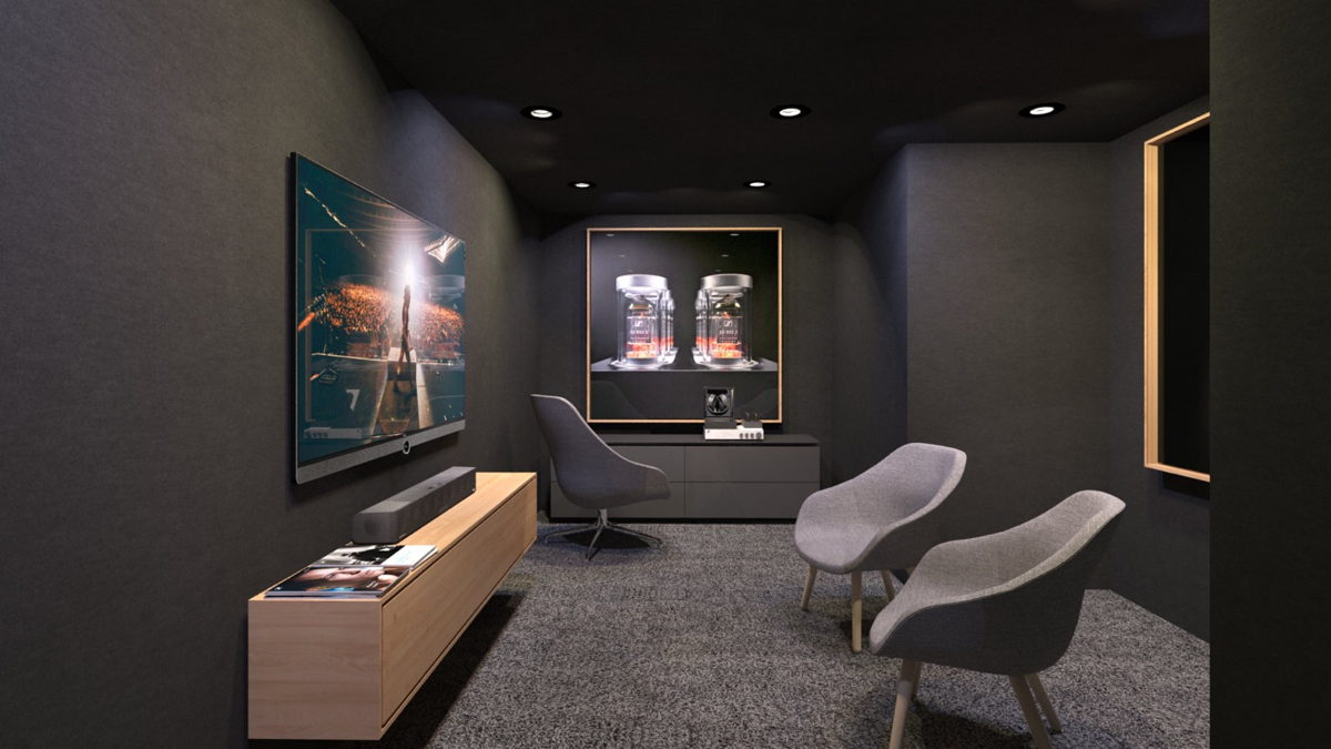 The premium experience room will be available for private listening sessions with our AMBEO 3D Soundbar and the exquisite HE1