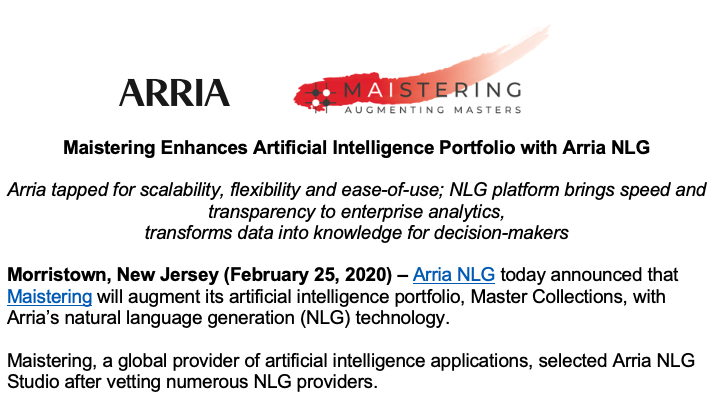 Maistering Enhances Artificial Intelligence Portfolio with Arria NLG