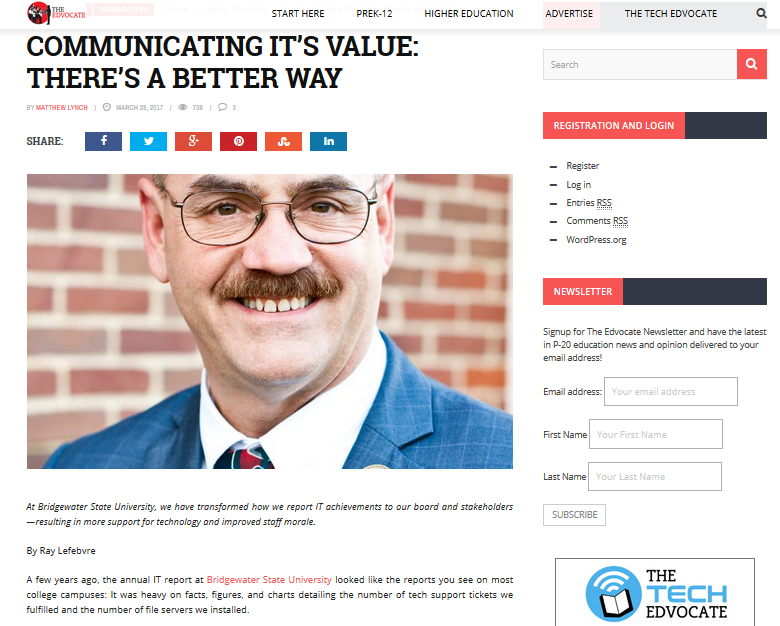 Panelist Ray Lefebvre writes in The EdAdvocate about communicating IT's value to key stakeholders. http://bit.ly/bridgewaterIT