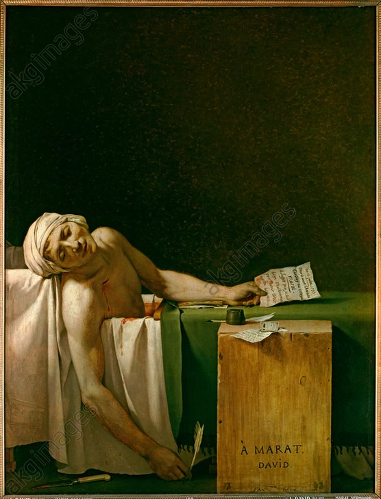 """Image ID: AKG899136<br/><br/>The Death of Marat<br/><br/>Marat, Jean Paul; French revolutionary. 1743–1793.<br/><br/>""""The Death of Marat"""" (stabbed in his bath by Charlotte Corday, Paris, 13 July 1793).<br/><br/>Painting, 1793, by Jacques-Louis David (1748–1825).<br/>Oil on canvas, 165 × 128 cm.<br/>Inv. No. 3261<br/>Brussels, Royal Museums of Fine Art."""