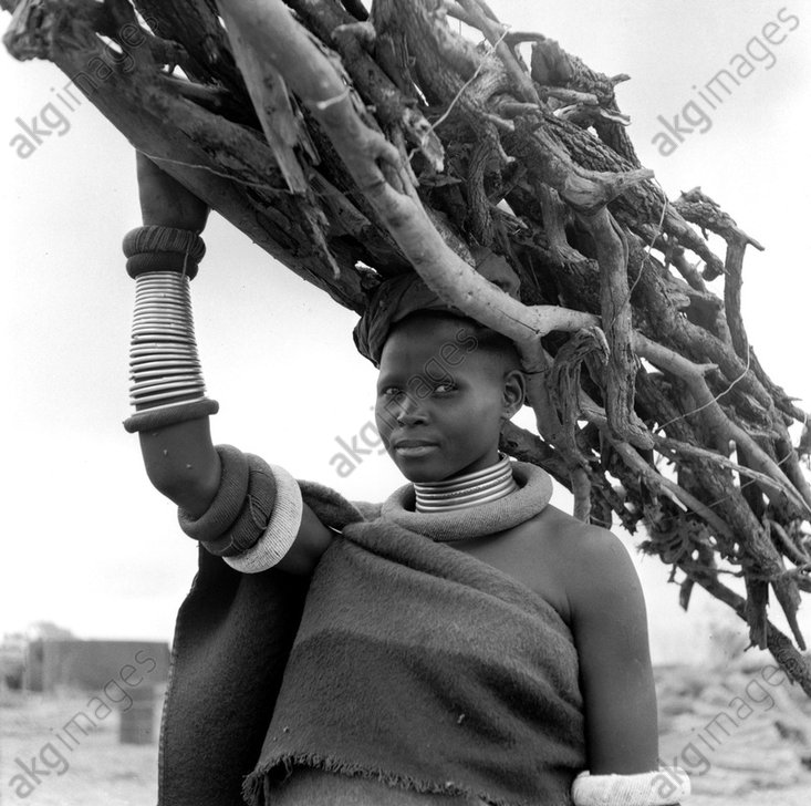 Young Ndebele woman carrying branches. Photo, 1953.<br/>AKG290583