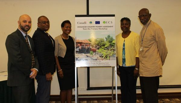 (L-R) Matthew Straub, Chair, CDRRF Trust Fund Steering Committee and First Secretary (Development) and Alternate Canadian Director to CDB; Elbert Ellis, Operations Officer and Social Analyst, CDB; Dr. Geraldine St. Croix, Project Coordinator, Enhanced Country Poverty Assessment in the OECS Commission; Claudia James, Project Manager, CDRRF; Dr. Ralph Henry, Principal Workshop Facilitator, Kairi Consultants Limited.