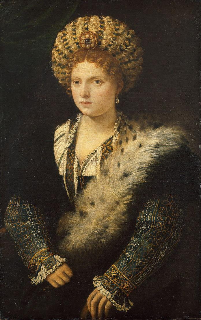 Titiaan, Portret van Isabella d'Este, schilderij, <br/>Wenen, Kunsthistorisches Museum