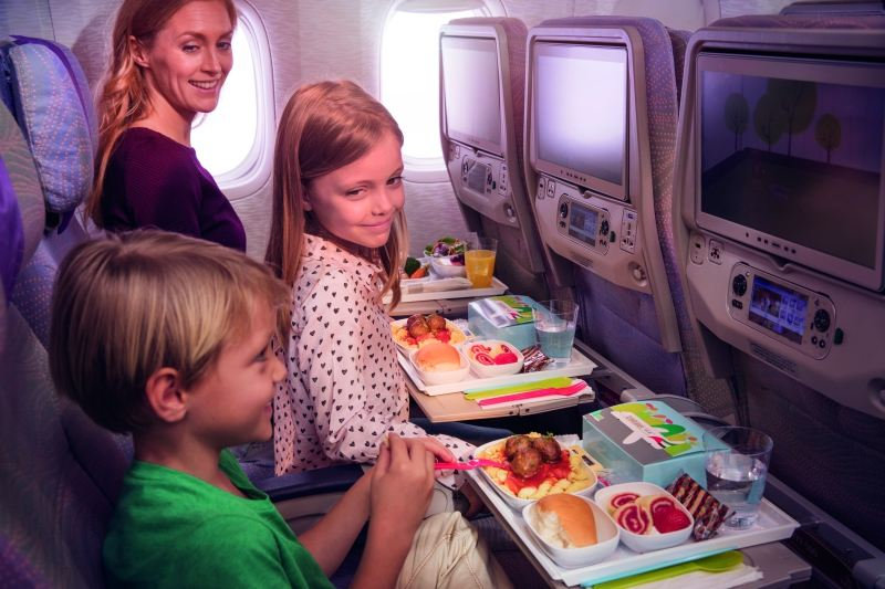 Young flyers can enjoy specially designed children's meals while flying on Emirates