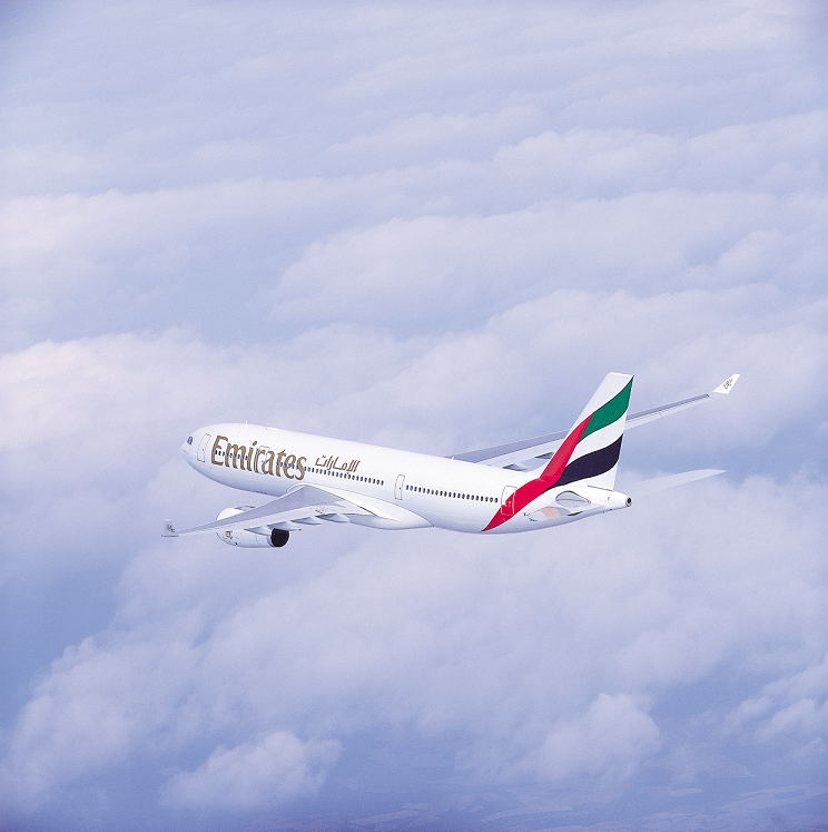Emirates A330 in flight