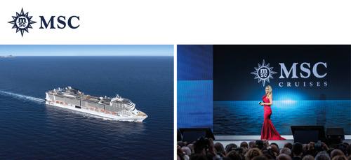 Aftellen naar de doop van megacruiseschip MSC Grandiosa in Hamburg gepresenteerd door Michelle Hunziker