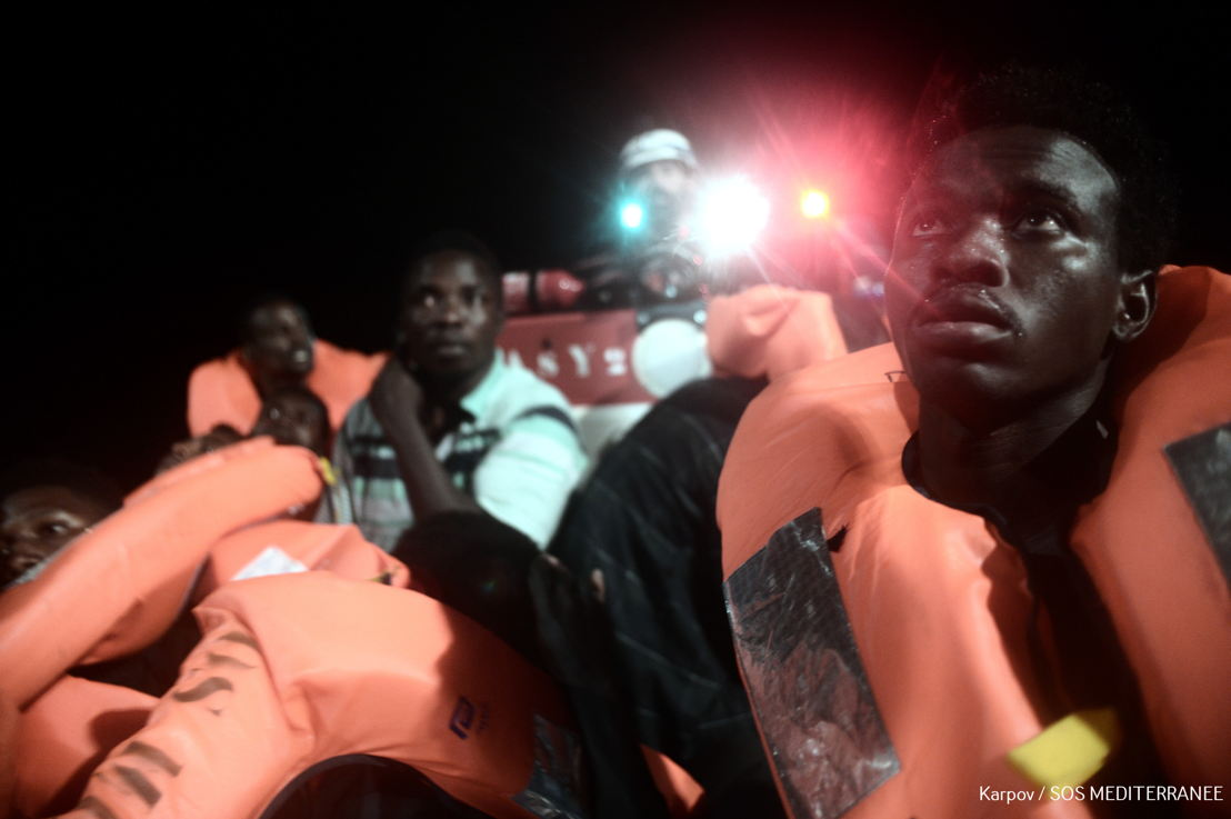 The 630 people currently onboard Aquarius were rescued during night of Saturday to Sunday, when Aquarius carried out six rescue and transfer operations in the span of nine hours – all under instruction from the Italian Maritime Rescue Coordination (IMRCC). The rescue of 2 rubber boats turned critical when one boat broke apart in the darkness, leaving over 40 people in the water. Photographer: Kenny Karpov