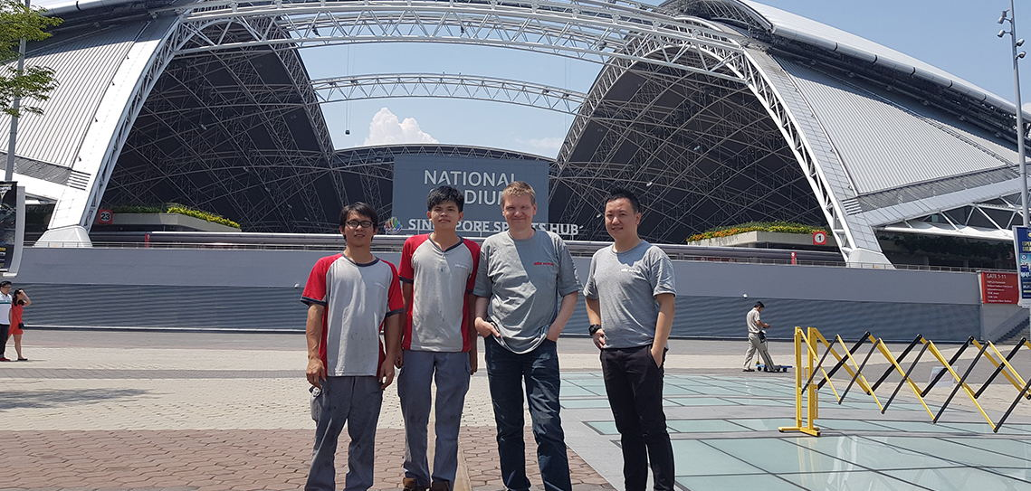From left- Ooi, Ong, Karl and Bryant at Singapore Sports Hub.
