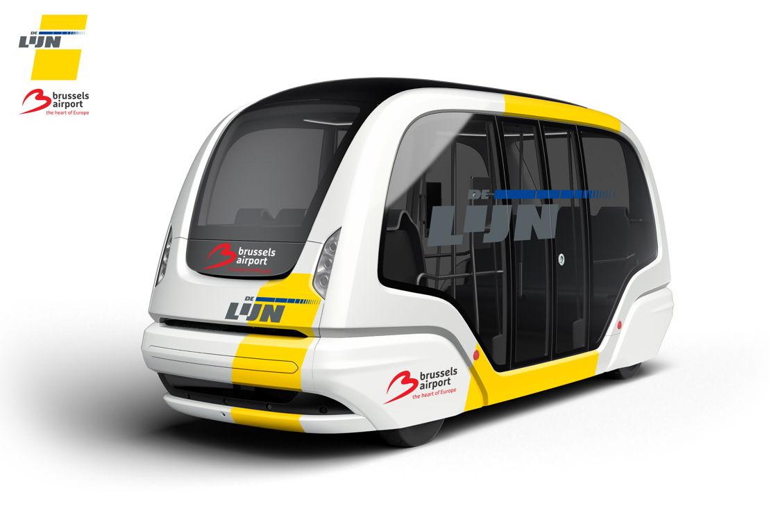 Ontwerp van de autonome shuttle die De Lijn en Brussels Airport Company zullen testen.