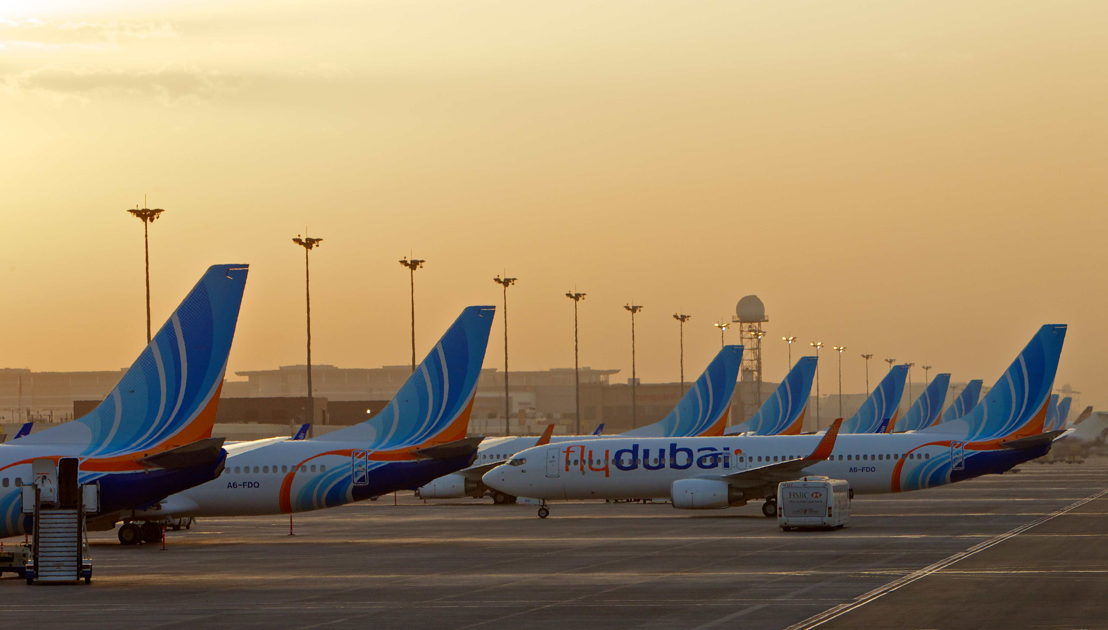 Aircraft in a row at the gate