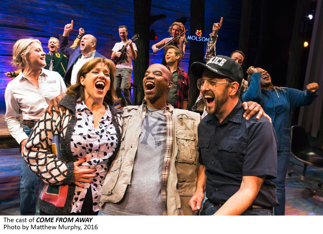 The cast of COME FROM AWAY, Photo by Matthew Murphy, 2016.