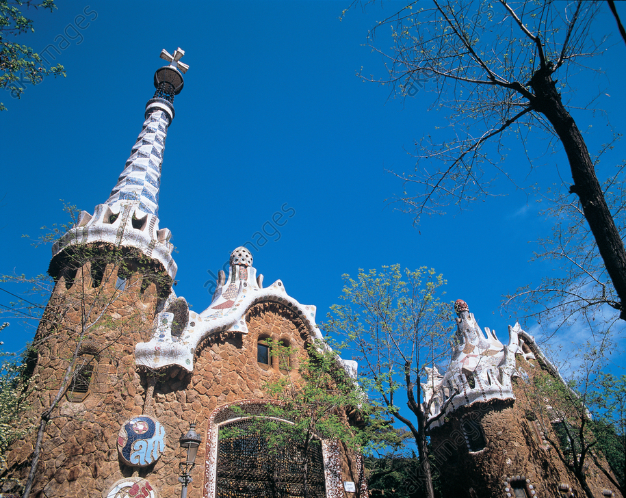 Detail of the entrance to the Park Guell in Barcelona, designed by Antoni Gaudi<br/>AKG5833287