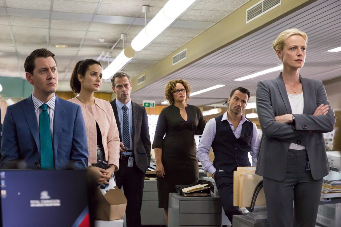 l-r Hamish Michael as Richard, Andrea Demetriades as Lina, Christopher Morris as Andy, Leah Purcell as Heather, Damian Walshe-Howling as Owen, Marta Dusseldorp as Janet King,