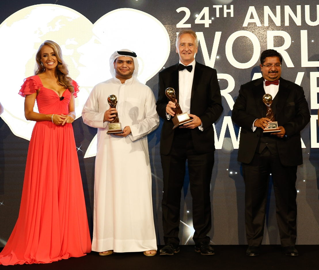 L to R: Abdullah Al Amri – dnata Travel Commercial Manager UAE, Stephen Allen – SVP dnata Travel Corporate ME&I, Preetham Kiron – General Manager dnata Travel Abu Dhabi, with presenter Katie Fielder.