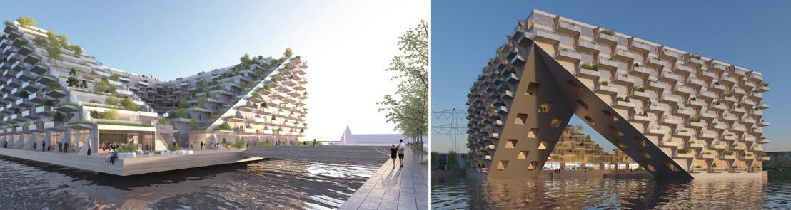 VORM / BESIX / MN winnen met BIG en BARCODE Architects kwaliteitstender Sluishuis op Steigereiland-Noord (IJburg)