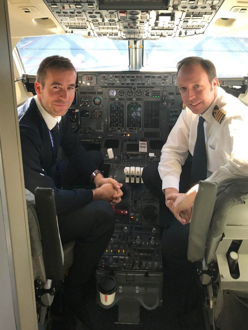 Captain Teugels and Captain Peeters on the last flight