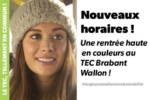 En guise de cadeau de fin d'année pour ses clients, le TEC Brabant Wallon améliore les horaires ou itinéraires de plusieurs de ses lignes !