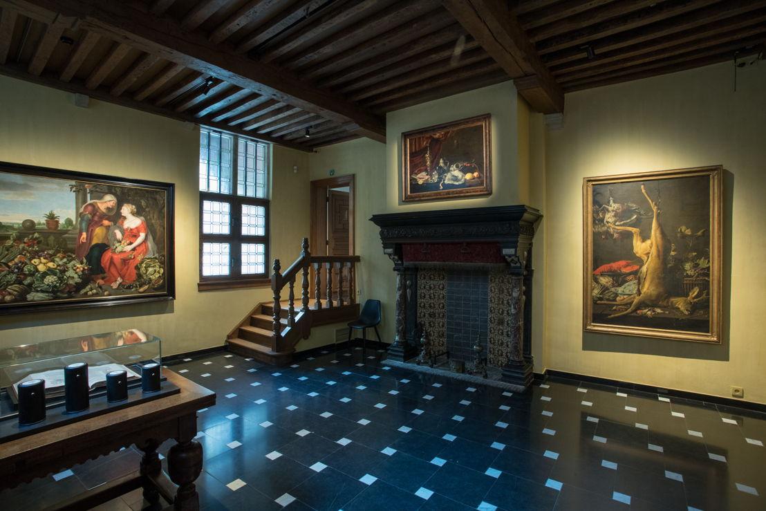 Zaalzicht van de keuken in het Snijders&amp;Rockoxhuis met links Vertumnus en Pomona<br/>(c) KBC Antwerpen Snijders&amp;Rockoxhuis