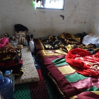 Room where inmates are held inside the a detention Center west of Misrata. Rooms are overcrowded, not clean and all inmates complained about scabies, a skin-infection associated with poor hygiene and living conditions.