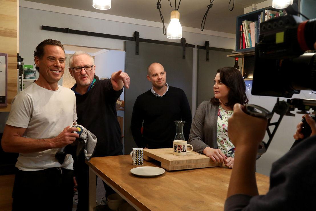 Behind the scenes on ABC's The Heights.L-R: Actor Marcus Graham, James Bogle (DIRECTOR), Warren Clarke (CO-CREATOR), actor Shari Sebbens . Photo by Bohdan Warchomij