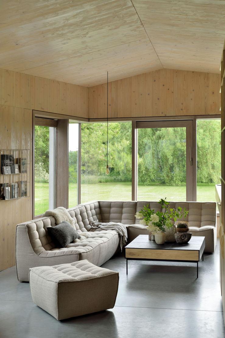 N701 sofa 3 seater, corner, 2 seater, footstool beige & 51477 Oak Blackbird coffee table