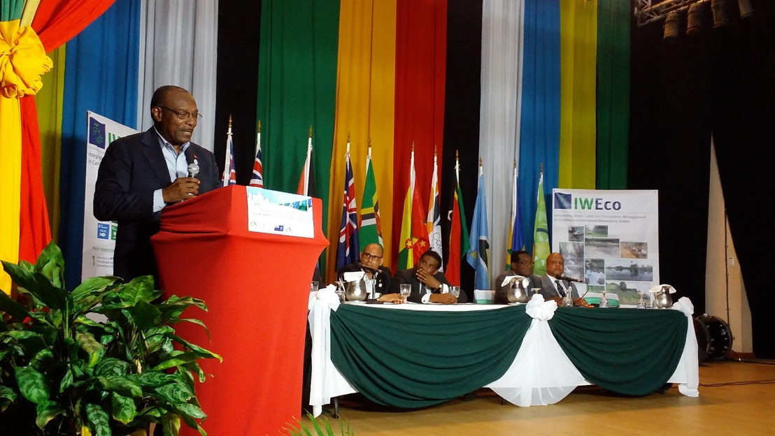 Antigua & Barbuda's Minister of Health, Wellness and the Environment, Hon. Molwyn Joseph, speaks during the IWEco Signing Ceremony at OECS COMES 5, Montserrat, 11th July 2018.