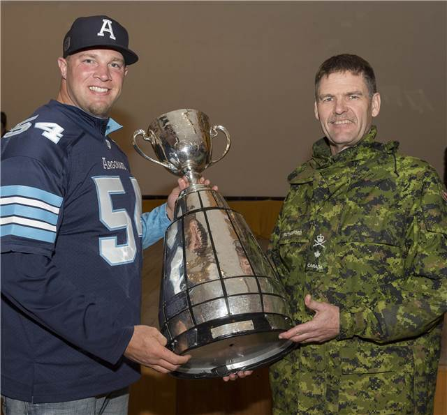 Chris Van Zeyl and Brigadier-General Paul Rutherford, Canadian Armed Forces Director General Information Management Operations hold the Grey Cup at a photo opportunity during Team Canada&#039;s spring visit in Starychi, Ukraine on April 23, 2017.<br/><br/>Photo: MCpl Mathieu Gaudreault, Canadian Forces Combat Camera