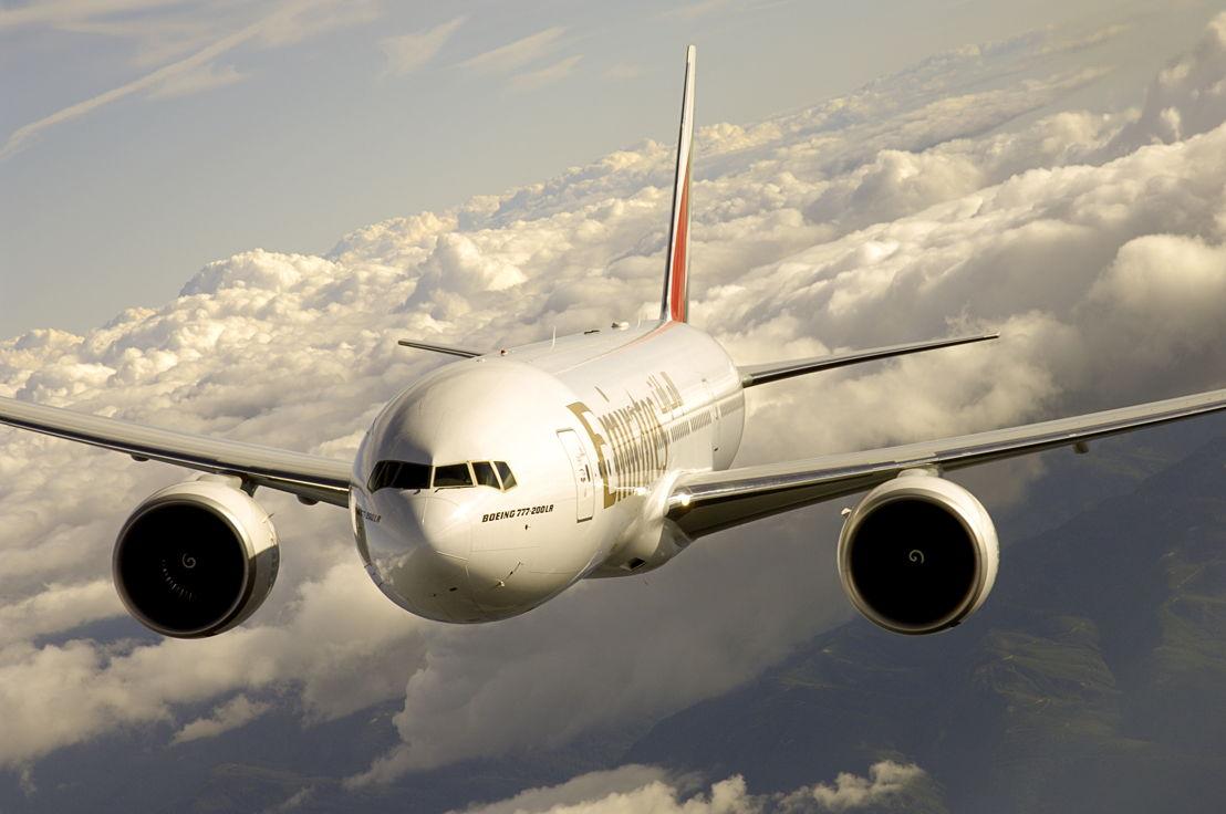 Emirates Boeing 777-200LR in flight