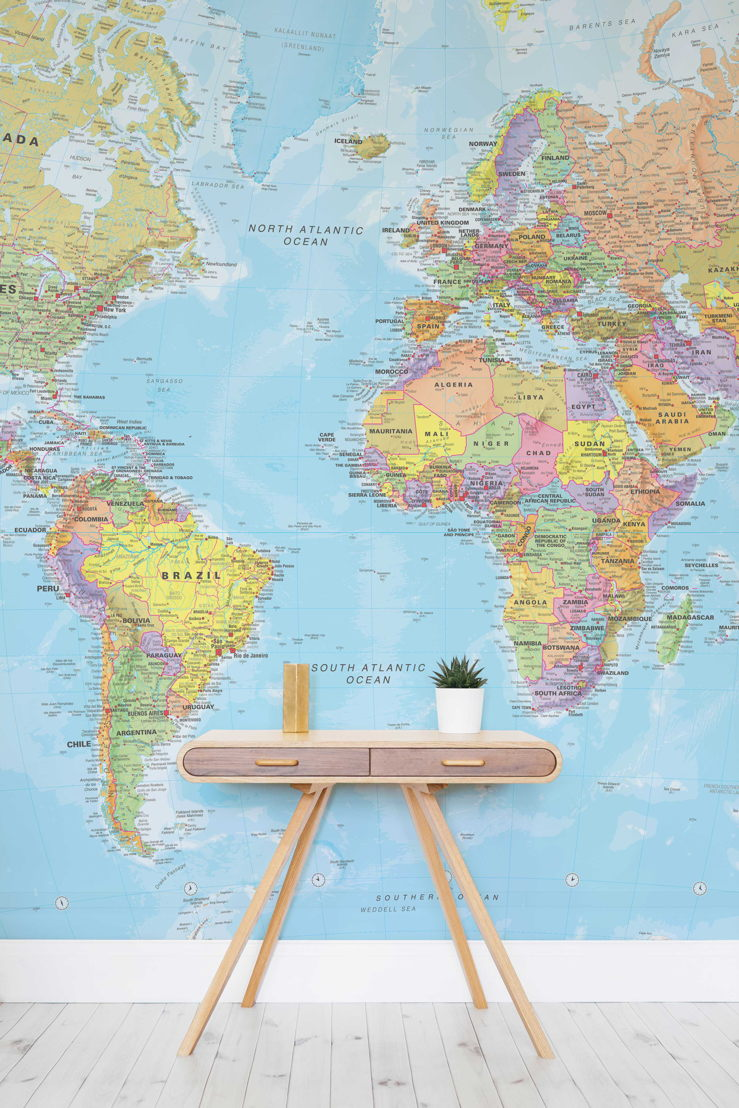 Textbook-style World Map Wallpaper Mural