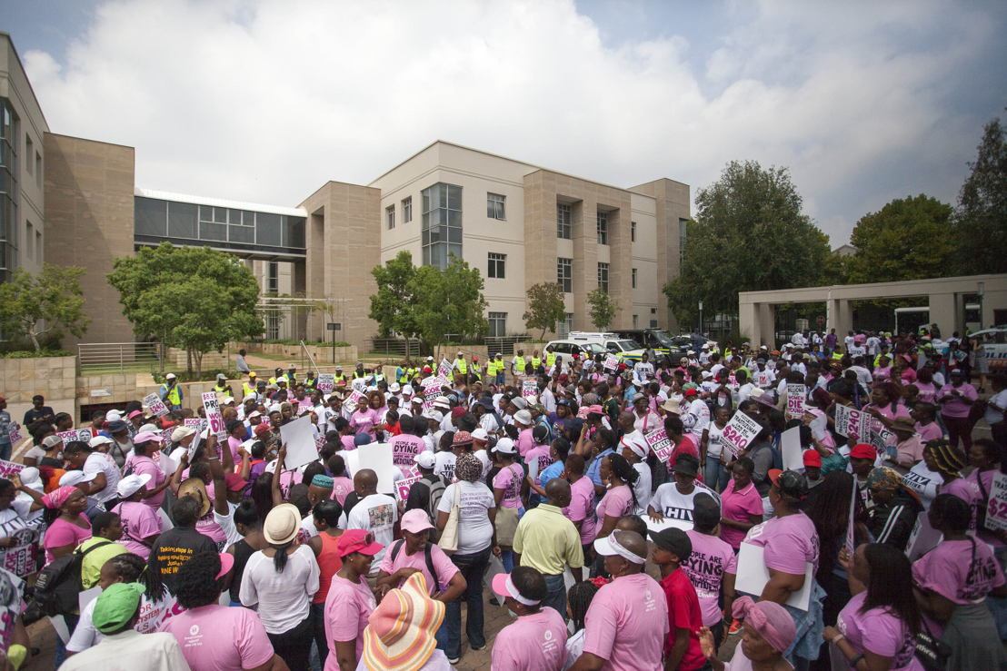 Some of the protesters during the breast cancer global day of action against Roche. Photographer: TAC & Shayne Robinson