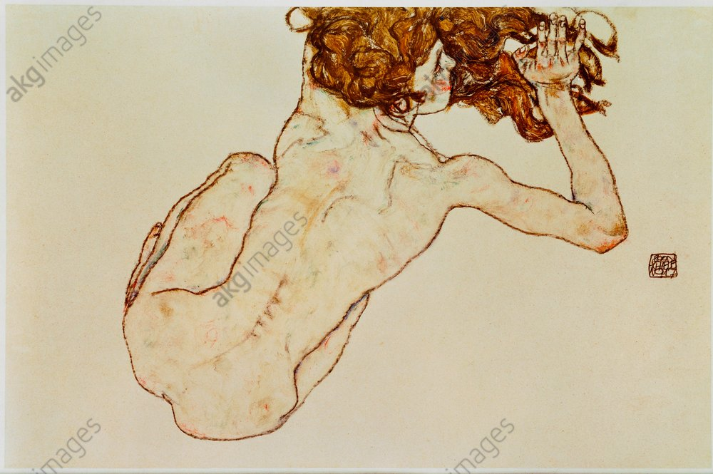 &quot;Crouching nude, back view&quot;, 1917.<br/>AKG868718