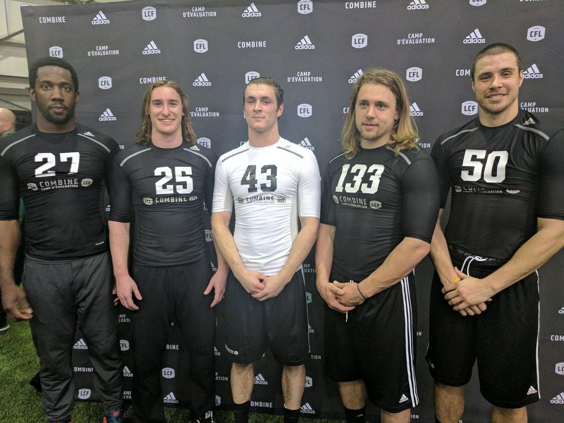 L->R: Julan Lynch, Mitchell Hillis, Adam Laurensse, Ante Milanovic-Litre, and Alex Morrison. Photo credit: Matt Smith/CFL