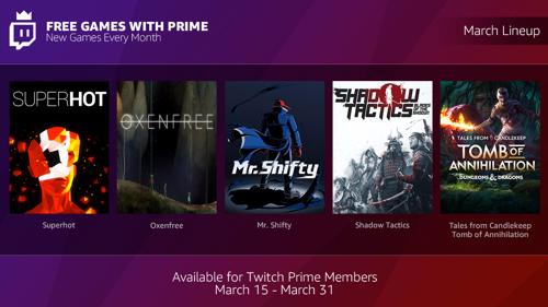 """Preview: Shadow Tactics, Superhot, Oxenfree: Für Twitch Prime-Mitglieder gibt es ab sofort jeden Monat das """"Free Games With Prime""""-Bundle!"""