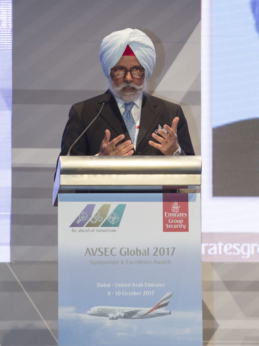 Mr K C Singh, Former Indian Ambassador to the U.A.E.  speaking at the opening of AVSEC Global 2017
