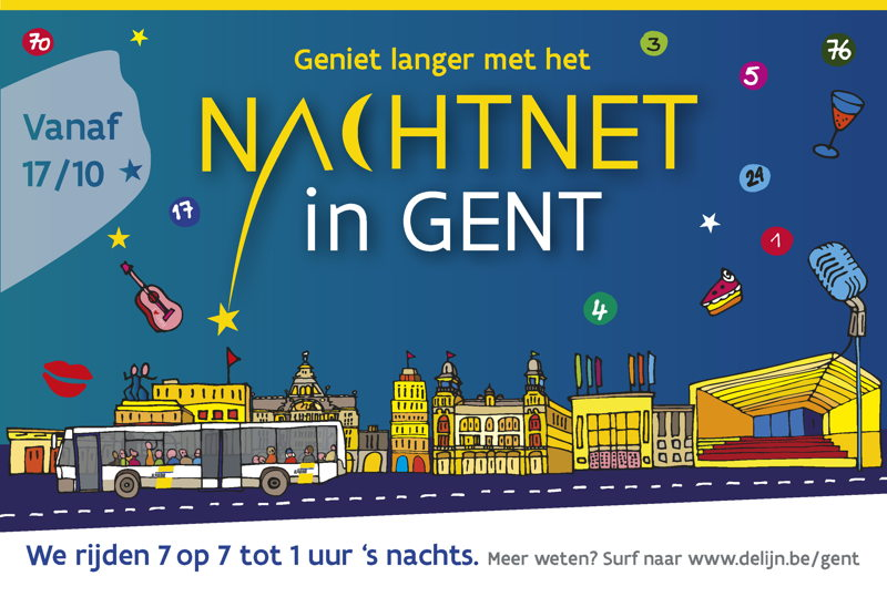 Campagnebeeld van het nieuwe nachtnet van De Lijn in Gent. Het net gaat van start op vrijdag 17 oktober 2014.