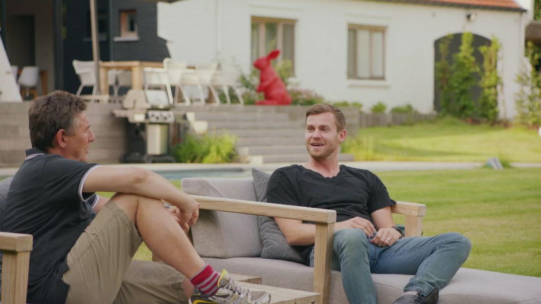Rudi Vranckx met Nicolas Lombaerts in Het huis (c) VRT