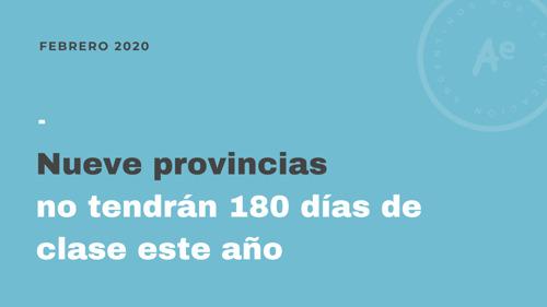 Nueve provincias no tendrán 180 días de clase este año
