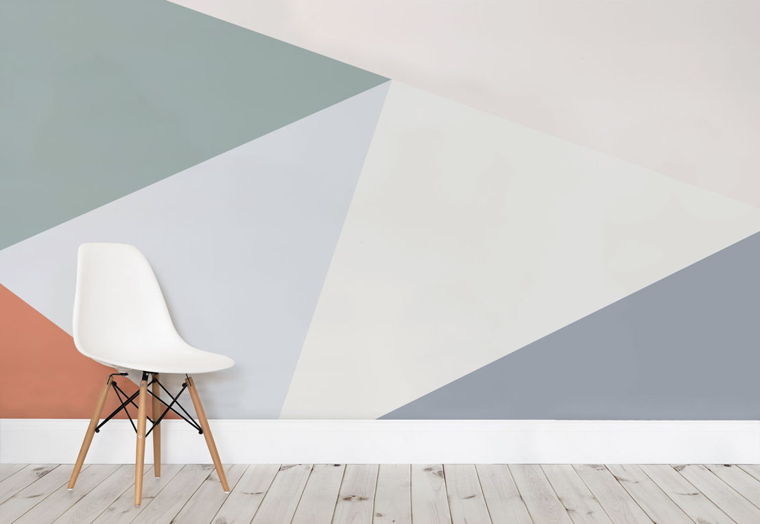 Multicoloured Oversized Geometric Wall Mural