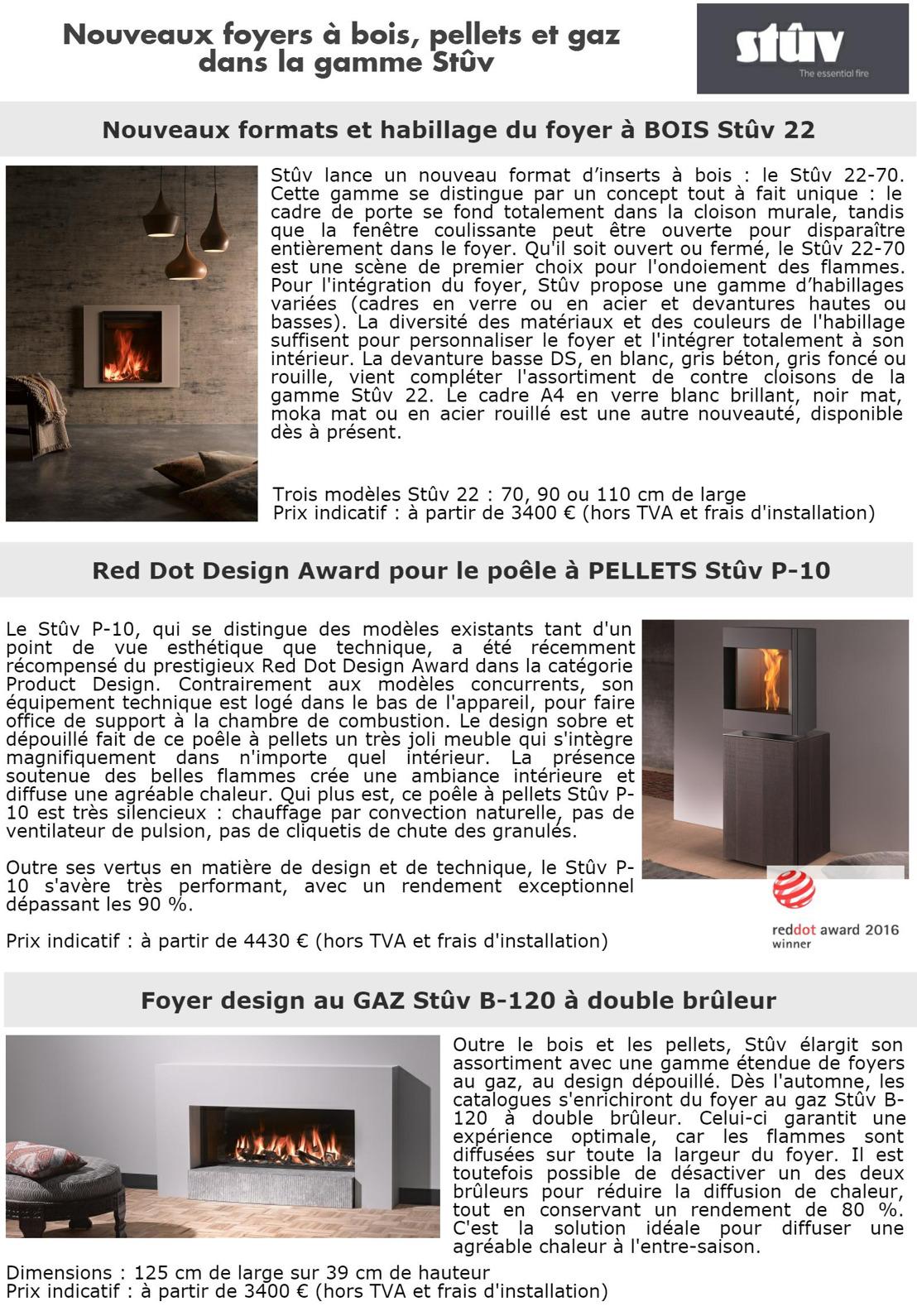 Nouveaux foyers à bois, pellets et gaz dans la gamme Stûv