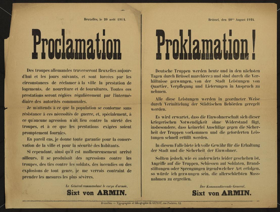 Affiche: 'Proclamatie in Brussel' (copyright: Het Rijksarchief in België)