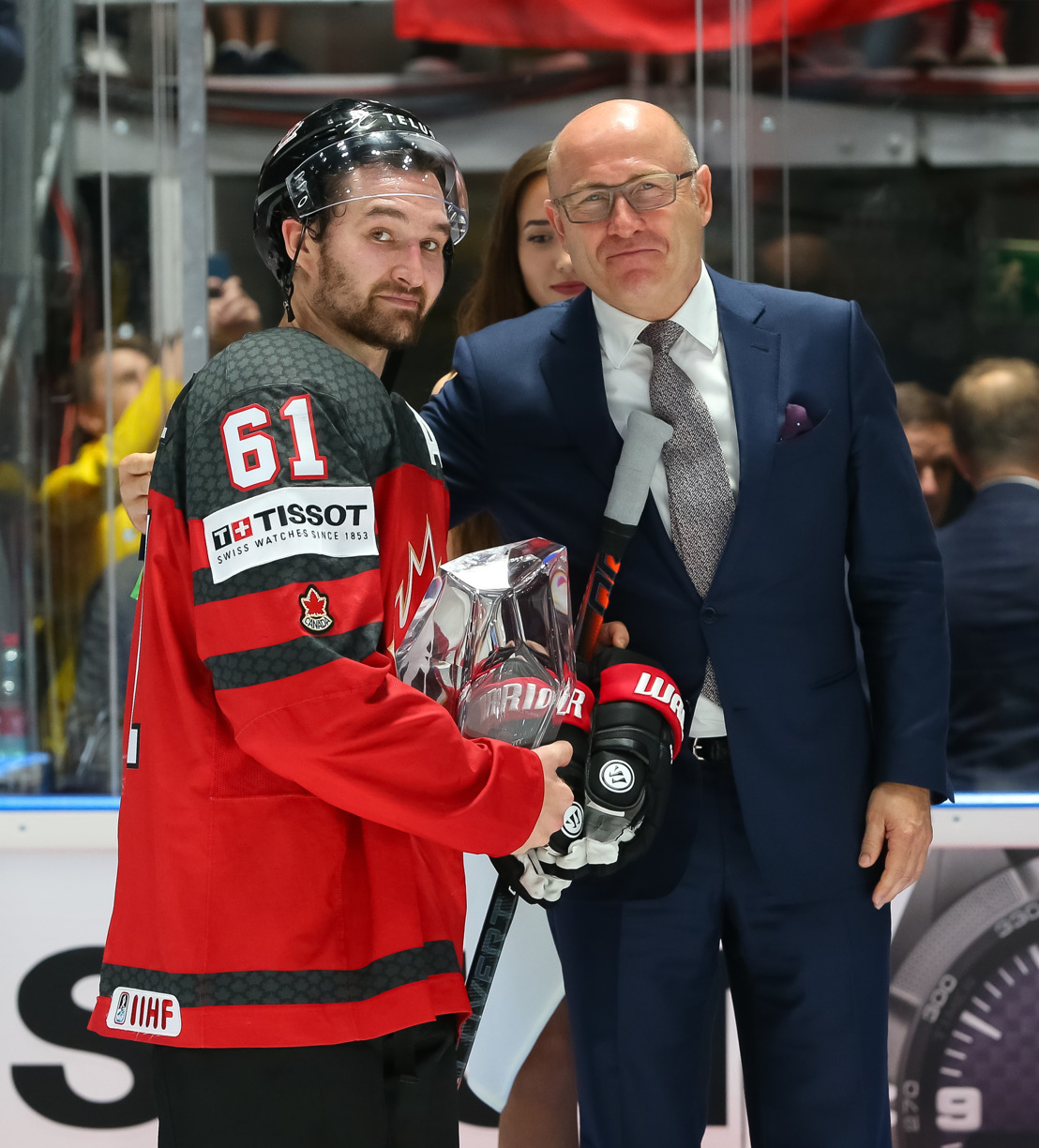 Bernhard Maier presents trophy to Most Valuable Player of IIHF Ice Hockey World Championship 2019