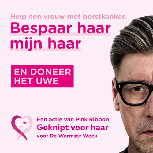 Herman Brusselmans roept, tijdens De Warmste Week, op om je paardenstaart te doneren aan Pink Ribbon